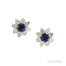 18kt White Gold and Sapphire Earrings