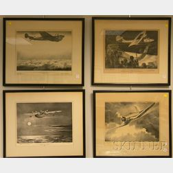 Set of Eight Clayton Knight (1891-1969) Pratt and Whitney WWII Aviation Pilot Signed   Lithographs