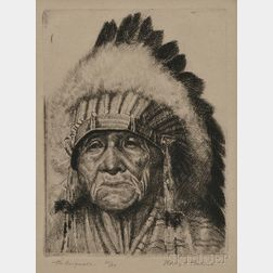 Henry C. Balink (1882-1963)      Etching of Chief Takee-Quala