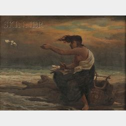 Elihu Vedder (American, 1836-1923)      Poetess Casting her Verses to the Winds