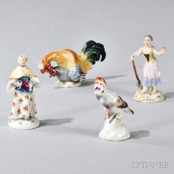 Four Miniature Meissen Porcelain Figures