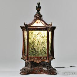 Indoor Carved Wood Parcel-gilt Lantern with Jade Panel Shades