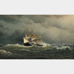 William Edward Norton (American, 1843-1916)      Sailing Vessel in Storm-tossed Seas