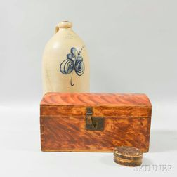 Finger-lapped Oval Box, a Grain-painted Document Box, and an F.B. Norton Two-gallon Jug