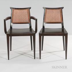 Six Edward Wormley for Dunbar Asian-style Dining Chairs