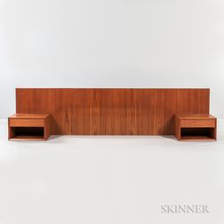 Danish Modern Wall-mounted Teak Headboard with Two Nightstands