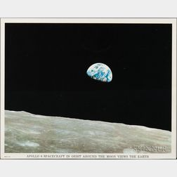 Apollo 8 Spacecraft in Orbit around the Moon Views the Earth.