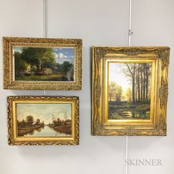 Three Framed 19th and 20th Century Oil on Canvas Landscapes