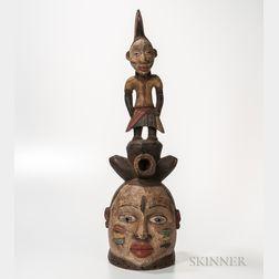 Yoruba-style Polychrome Carved Wood Mask