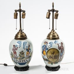 Pair of Delft Tobacco Jar Lamps