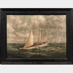 C. Myron Clark (Massachusetts, 1858-1925)      Sailing Yacht in Choppy Seas