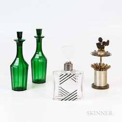 Pair of Emerald Glass Decanters, an Art Deco Perfume Bottle, and a Straw Dispenser