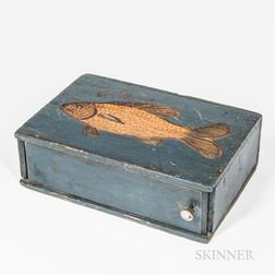 Blue-painted and Carved Fish-decorated Slide-lid Box