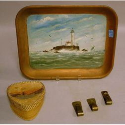 Set of Three Arts & Crafts Hammered Brass Paper Clips, a Handpainted Lighthouse Scenic Metal Tray, and a New Brunswick Native American