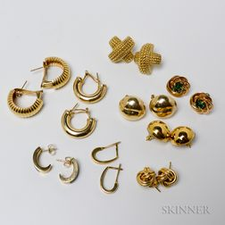 Eight Pairs of 14kt Gold Earrings