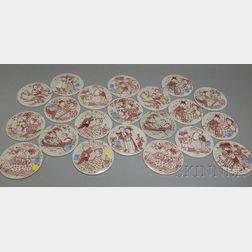 Twenty-one Bjorn Wiinblad Ceramic Collector Months of the Year Roundels