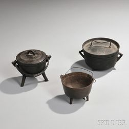 Two Miniature Cast Iron Pots and a Miniature Dutch Oven