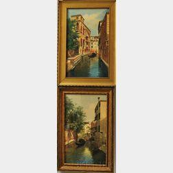 Pair of Framed Eugenio Benvenuti (Italian, 1881-1959) Watercolor Venetian Canal Scenes