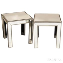 Pair of Mirrored Cube Side Tables