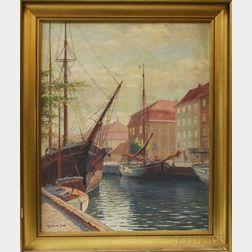 Robert Pan (British, b. 1969)      View of Shipping Docks