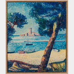 Micha Wilatch (American, 1910-1974)    Pointillist-style Sunny Beach
