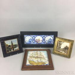 Nine Framed Ceramic Tiles
