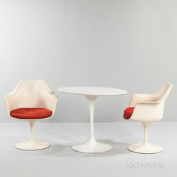 Two Eero Saarinen for Knoll Tulip Armchairs and Oval Side Table