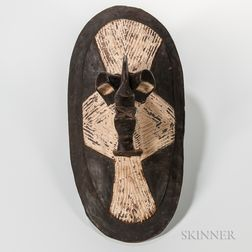 Songye-style Carved and Painted Shield Mask