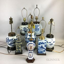 Eight Chinese Export Porcelain Jars