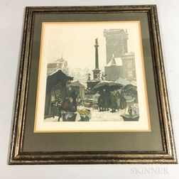 Framed Jaromir Stretti-Zamponi Color Etching of a Prague Market