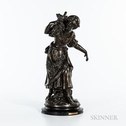 After Auguste Moreau (French, 1834-1917)       Modern Bronze Figure of a Country Maiden