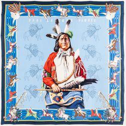 "Framed Hermes ""Pani la Sher Pawnee"" Blue Silk Scarf"