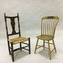 Step-back Windsor and a Painted Vase-back Side Chair