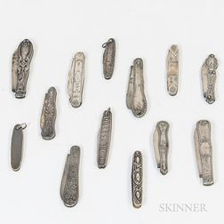 Group of Sterling Silver and Coin Silver Penknives