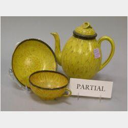 Twenty-four Piece Japanese Hand-Painted Chrysanthemum Porcelain Tea Set.