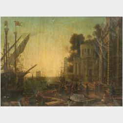 After Claude Lorrain (French, 1600-1682)  Seaport with the Landing of Cleopatra in Tarsus