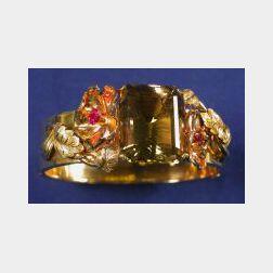Retro 14kt Bi-color Gold and Citrine Bangle