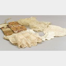 Two Chintz Pockets and Assorted Needlework, Lace Collars, and Trim