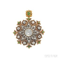 Carved Moonstone, Diamond, and Demantoid Garnet Pendant/Brooch