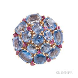 Sapphire and Ruby Brooch