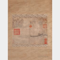 Hanging Scroll Depicting a Moonlit Riverscape