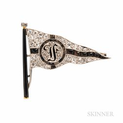 Art Deco Marzo, Paris, Platinum and Diamond Yachting Flag Brooch