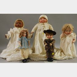 Group of Five Reproduction Bisque Head Dolls