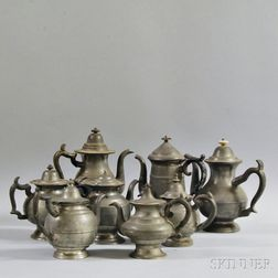 Eight Pewter Teapots and Coffeepots