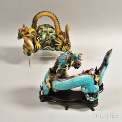 Two Chinese Porcelain Serpentine Dragons