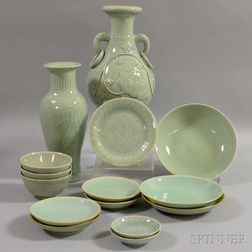 Fifteen Pieces of Celadon-glazed Porcelain