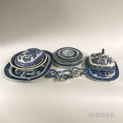 Twenty-two Blue Willow Transfer-decorated Ceramic Tableware Items