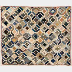 Silk Tumbling Blocks and Stars Quilt