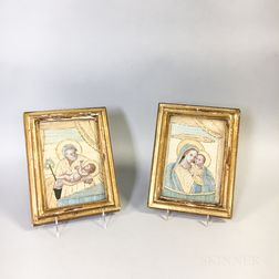 Two Framed Religious Needlework Pictures