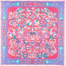 """Framed Hermes """"Folklore"""" Pink Silk Scarf"""